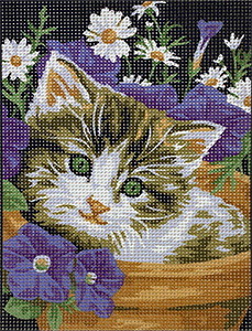 Royal Paris Petit Chaton (Little Kitten in Flowerpot Needlepoint Canvas or Kit