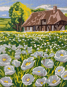 Royal Paris Le Champ de Pavot Blanc (Field of White Poppies) Needlepoint Canvas or Kit