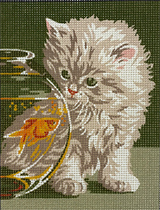 Royal Paris Kitten and the Goldfish Needlepoint Canvas or Kit