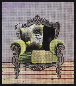 Green Chair Hand Painted Needlepoint Canvas