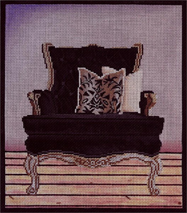 Black Chair Hand Painted Needlepoint Canvas