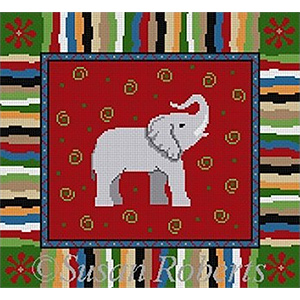 Susan Roberts Needlepoint Designs - Hand-painted Canvas -  Elephant with Multi-Color Border