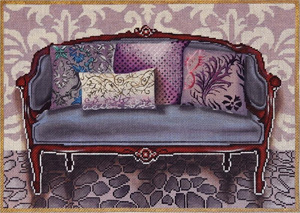 Purple Couch Hand Painted Needlepoint Canvas