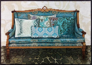 Teal Couch Hand Painted Needlepoint Canvas