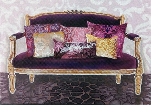 Fuchsia Couch Hand Painted Needlepoint Canvas