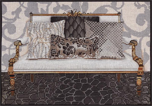 Platinum Couch Hand Painted Needlepoint Canvas
