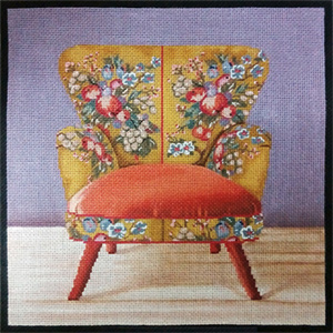 Boho Orange Chair Hand Painted Needlepoint Canvas