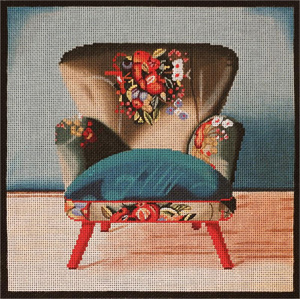 Boho Beige Chair Hand Painted Needlepoint Canvas
