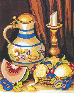 Pitcher, Melon, Fruit and Candle  - Collection d'Art Needlepoint Canvas