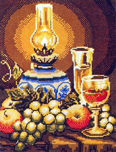 Lamp, Grapes, Apples and Wine  - Collection d'Art Needlepoint Canvas
