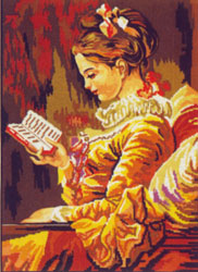 Girl Reading - Collection d'Art Needlepoint Canvas