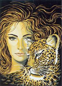 Leopard Woman  - Collection d'Art Needlepoint Canvas