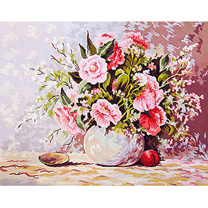Vase of Flowers (Pink)  - Collection d'Art Needlepoint Canvas