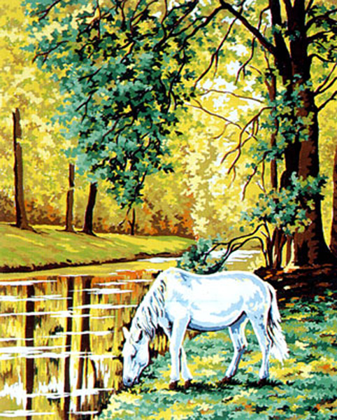 White Horse by the Stream- Collection d'Art Needlepoint Canvas