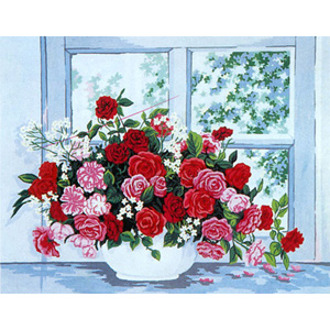 Bowl of Flowers at Window  - Collection d'Art Needlepoint Canvas