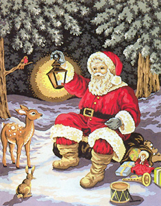 Santa and the Animals  - Collection d'Art Needlepoint Canvas