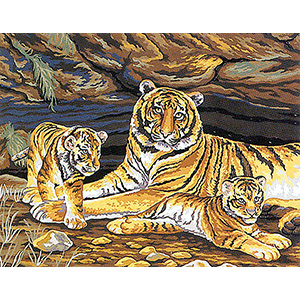 Tiger and Cubs  - Collection d'Art Needlepoint Canvas