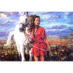 The Girl with the White Horse  - Collection d'Art Needlepoint Canvas