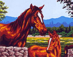 Blaze Mare and Colt  - Collection d'Art Needlepoint Canvas