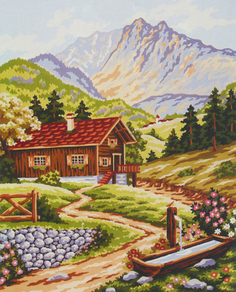 Mountain Chalet  - Collection d'Art Needlepoint Canvas