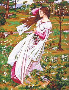 Windflower by John William Waterhouse - Collection d'Art Needlepoint Canvas
