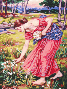 Narcissus by John William Waterhouse  - Collection d'Art Needlepoint Canvas