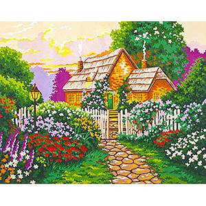 The Cottage Walk  - Collection d'Art Needlepoint Canvas