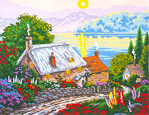 Cottage View  - Collection d'Art Needlepoint Canvas