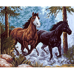 Black and Brown Horses  - Collection d'Art Needlepoint Canvas