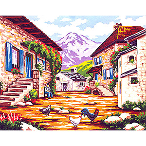 Center of the Farm  - Collection d'Art Needlepoint Canvas