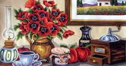 Coffee, Jam, and Flowers  - Collection d'Art Needlepoint Canvas