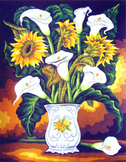 Vase with Sunflowers & Lilies  - Collection d'Art Needlepoint Canvas
