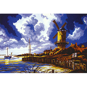 Windmill Scene - Collection d'Art Needlepoint Canvas