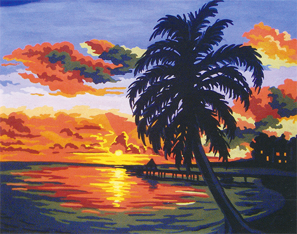 Tropical Sunset  - Collection d'Art Needlepoint Canvas