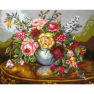 The Flower Table  - Collection d'Art Needlepoint Canvas