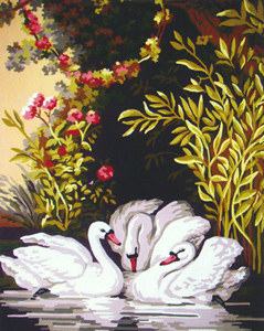 Three Swans  - Collection d'Art Needlepoint Canvas