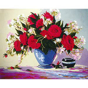 Red Rose Delight  - Collection d'Art Needlepoint Canvas