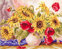 Vase of Sunflowers and Poppies  - Collection d'Art Needlepoint Canvas