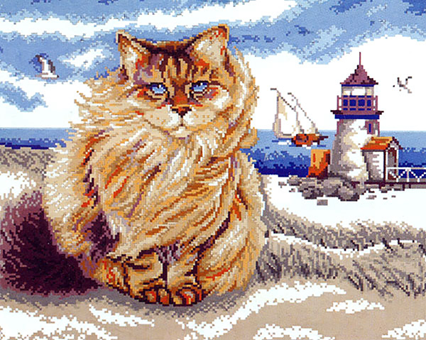 Lighthouse Cat  - Collection d'Art Needlepoint Canvas