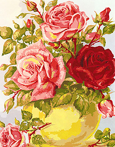Yellow Vase with Red and Pink Roses  - Collection d'Art Needlepoint Canvas