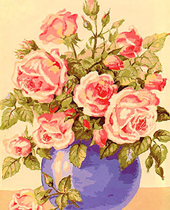 Blue Vase of Pink Roses  - Collection d'Art Needlepoint Canvas