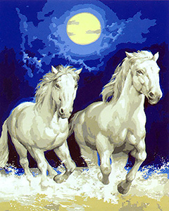 Two White Horses in Moonlit Surf  - Collection d'Art Needlepoint Canvas