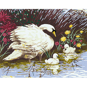 Mother Swan & Signets  - Collection d'Art Needlepoint Canvas