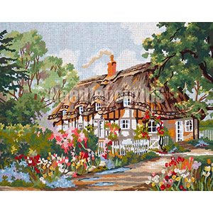 Thatched Cottage with Chimney  - Collection d'Art Needlepoint Canvas