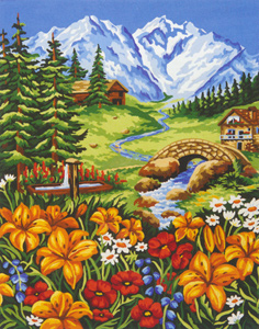 Spring in the Mountains  - Collection d'Art Needlepoint Canvas