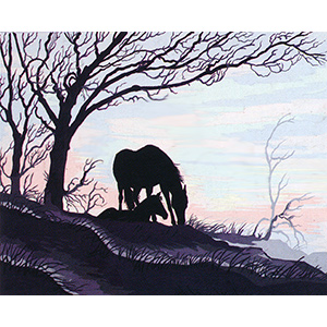 Mare & Foal Silhouette  - Collection d'Art Needlepoint Canvas