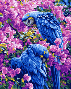 Blue Parrots  - Collection d'Art Needlepoint Canvas
