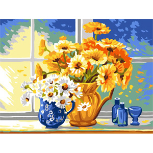 Yellow & White Daisies  - Collection d'Art Needlepoint Canvas