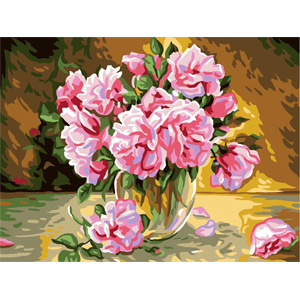Pink Roses  - Collection d'Art Needlepoint Canvas