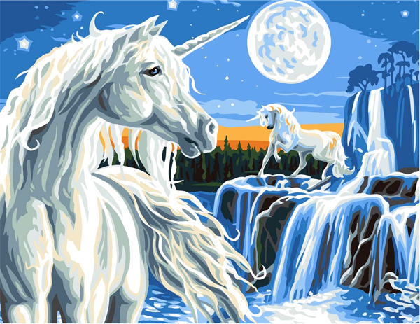 Magical Unicorns  - Collection d'Art Needlepoint Canvas